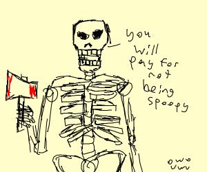 skull with axe wanting revenge