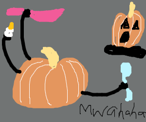 Pumpkin with 3arms out to get other pumpkin