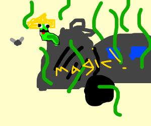 green worm in trash bag
