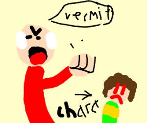 Old man yelling at kid.