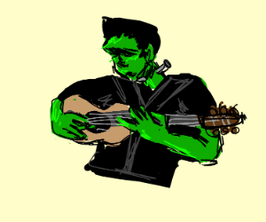 Frankenstein's monster has a guitar