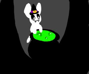 Witch rabbit stirring a cauldron