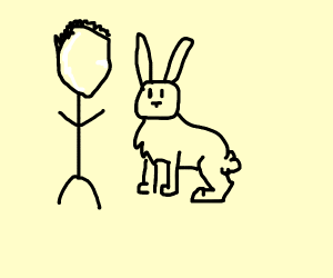 Faceless person with a bunny