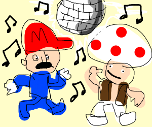 Mario and toad dance together