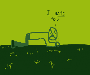 Guy hates on grass
