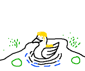 Duck covered in melted cheese on a pond