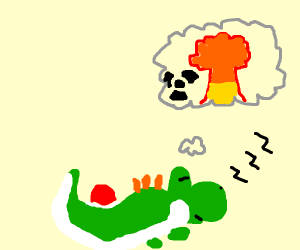 Yoshi is asleep... and dreams of nuclear bomb