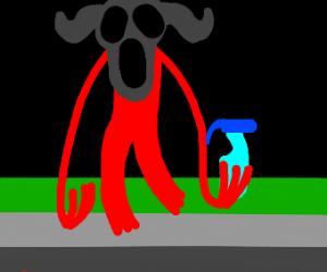 Spooky mask demon stole window cleaner