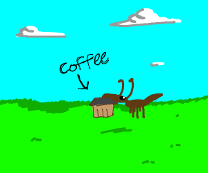 Termite enjoys cup of coffee