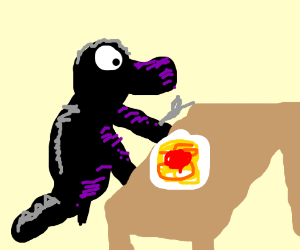 Godzilla eats a spaget
