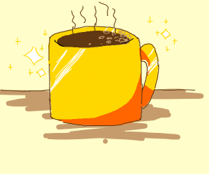 a golden coffee cup