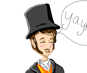 Guy in top hat says yay