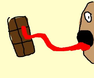 licking chocolate