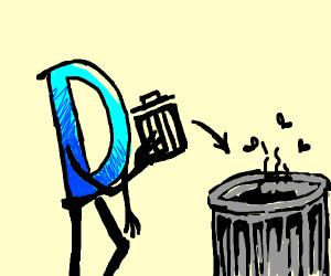 Drawception D throws trashcan in trashcan