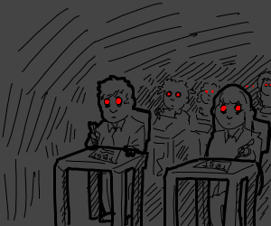 Red eyed children take a test