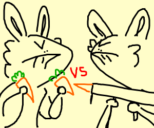 Rabbits fight with carrots