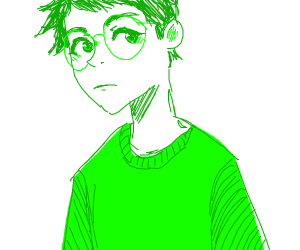 Man wearing a green shirt and glasses
