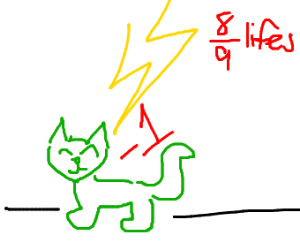 Cat looses 1 life to Lightning