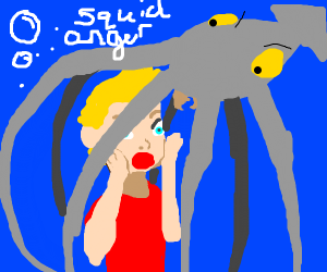a squid traps jazza in a cage