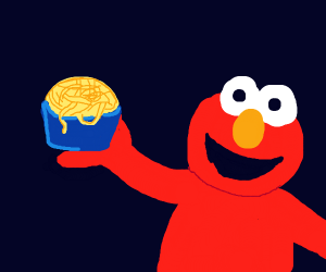 elmo with noodles?