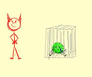 Evil man puts a pea in prison