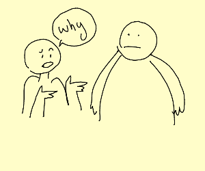 man questioning his morbidly obese twin
