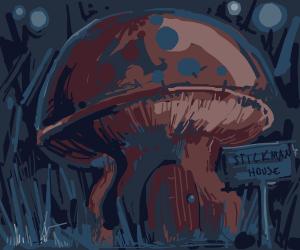 A stickman lives inside a mushroom