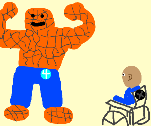 The Thing flexing for Professor X.