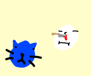 Blue cat stabs its pale owner