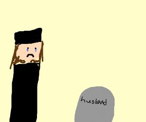 A widow crying