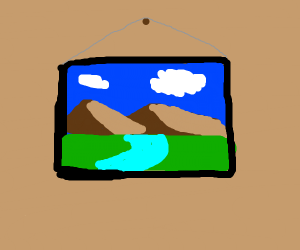 a landscape painting hanging on a wall