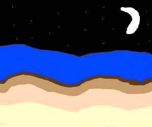 the beach by night