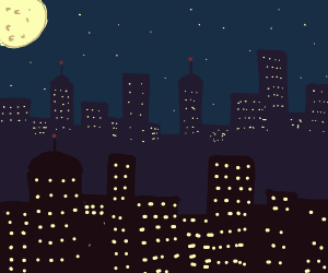 big pale moon behind cityskyline