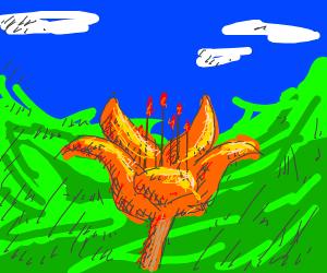 Orange tropical flower