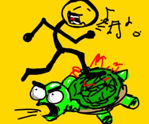 Singing stick man steps on turtle