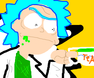 rick(form rick and morty) drinking tea