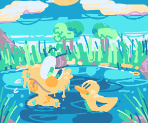 D-duck in pond with yellow elmo