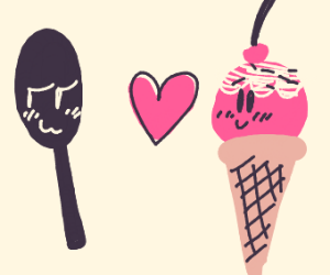 Love between a spoon and ice cream