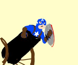 Cap America in a cannon