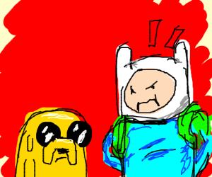 Finn angry at jake.