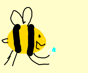 A bee happily holding a white ring