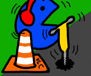 blue pacman road worker drilling next to VLC