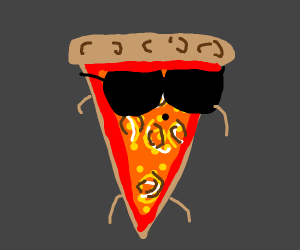 A very cool slice of pizza.