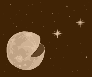 Moon eating stars (like pacman does)