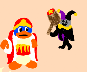 king dedede yells oh no as jevil has a hammer