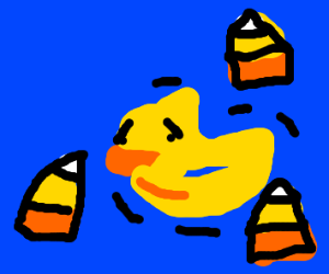 A duck is scared of Candy Corn around it