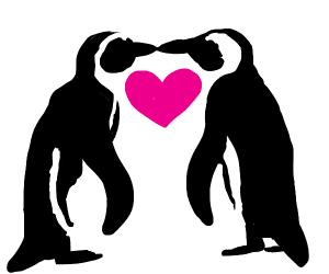 Penguins kiss & form a heart
