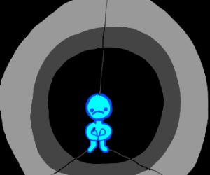 a sad, blue stickman in the dark