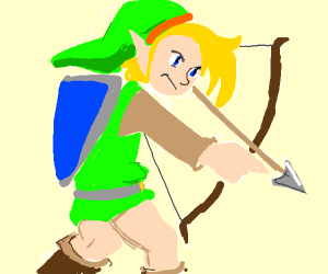 Link shooting an arrow into nothingness