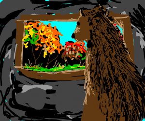 Bear looks outside his window in the fall